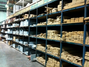 warehouse full of decorative molded wood
