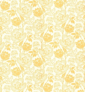 yellow and white wallpaper - peony