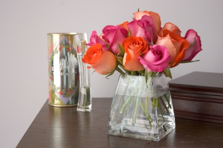 bright pink and orange roses