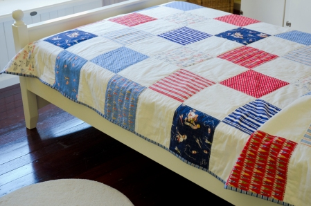 White, Red and Blue Boys Quilt
