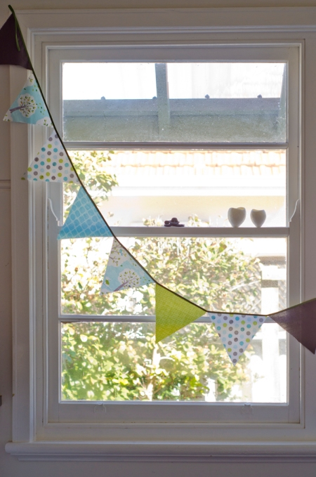 Bunting in the window