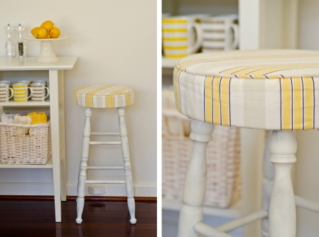 Yellow and white upholstered kitchen bar stools